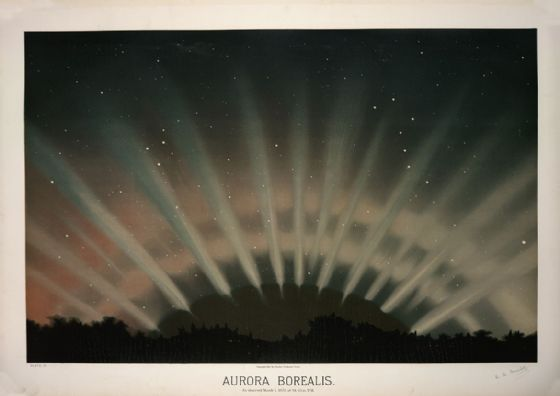 Trouvelot, Etienne Leopold: Aurora Borealis. (The Trouvelot Astronomical Drawings, 1882) Space Print/Poster. Sizes: A1/A2/A3/A4 (00100)